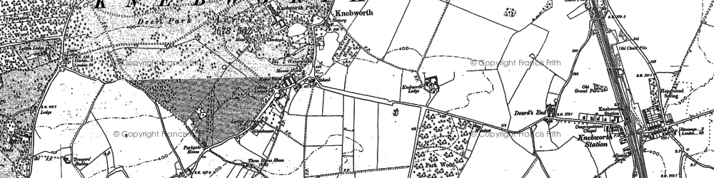 Old map of Old Knebworth in 1897