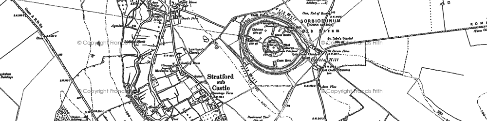 Old map of Old Sarum in 1900