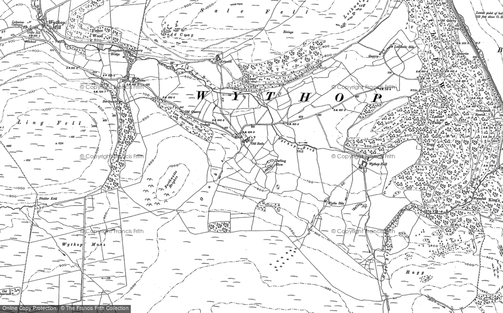 Old Map of Historic Map covering Aiken Beck in 1898