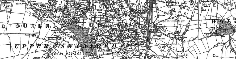 Old map of Old Swinford in 1882