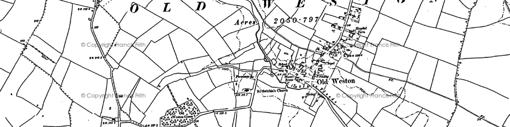 Old map of Old Weston in 1900