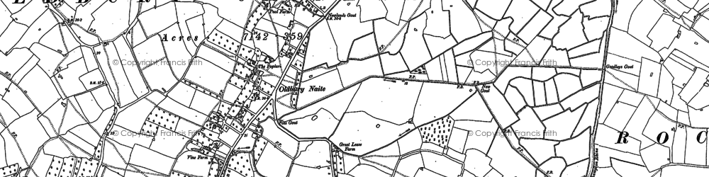 Old map of Ledges, The in 1880