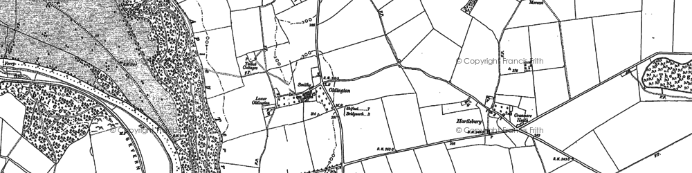 Old map of Winscote Hills in 1882