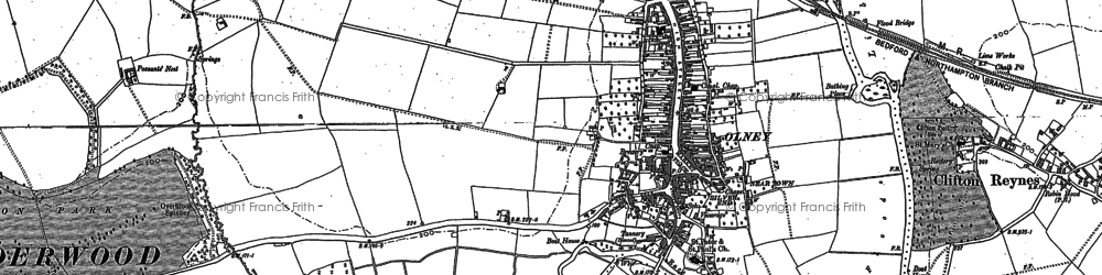 Old map of Olney in 1899