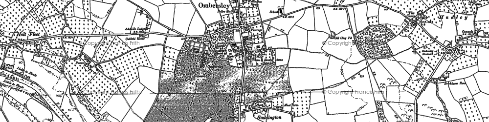 Old map of Ombersley in 1883