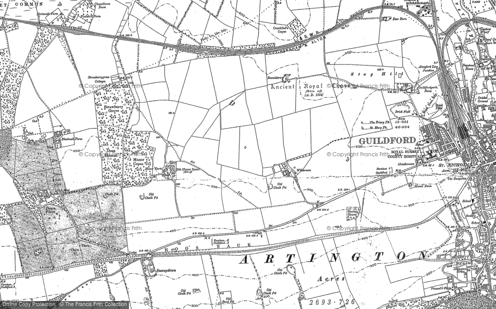 Old Map of Historic Map covering Woodbridge Hill in 1895