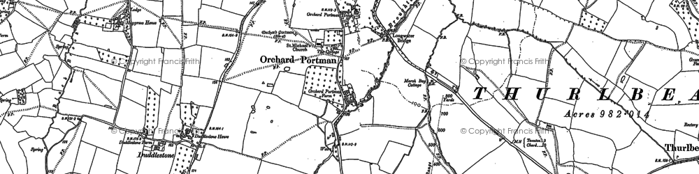 Old map of Orchard Portman in 1886