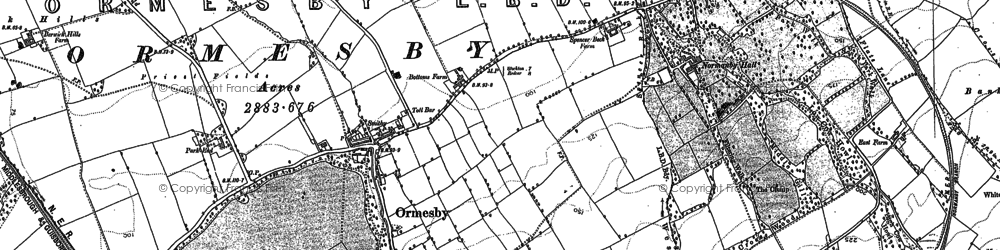 Old map of Ormesby in 1893