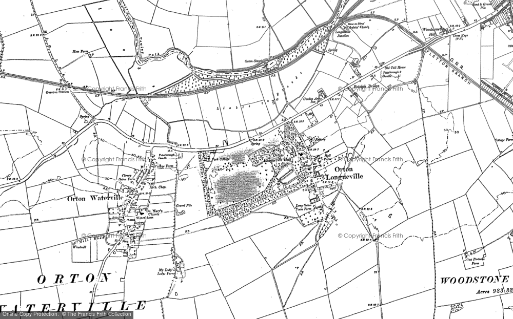 Old Map of Orton Longueville, 1887 - 1899 in 1887