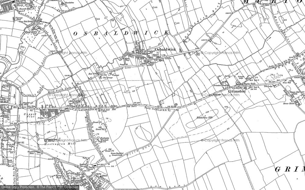 Old Map of Osbaldwick, 1890 in 1890