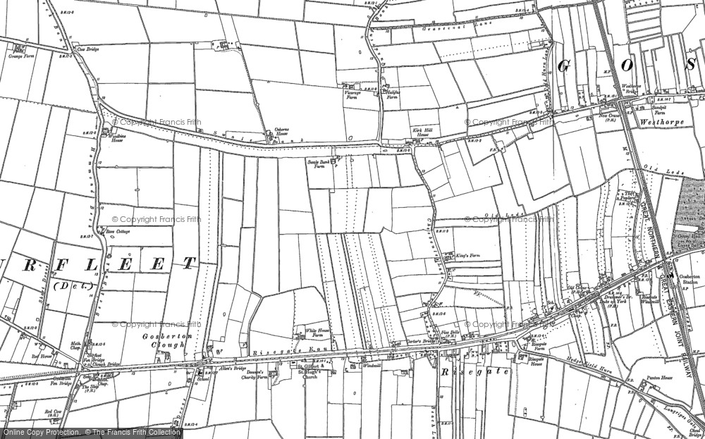 Old Map of Historic Map covering Woodbine Ho in 1887