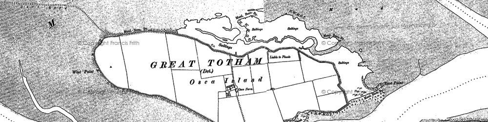 Old map of Osea Island in 1895