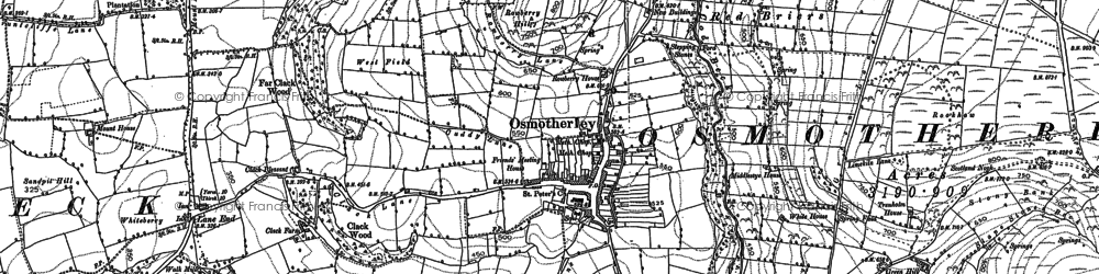 Old map of Osmotherley in 1890