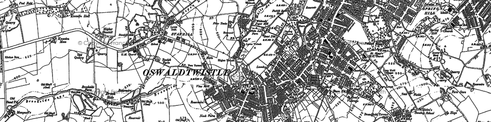 Old map of Oswaldtwistle in 1890