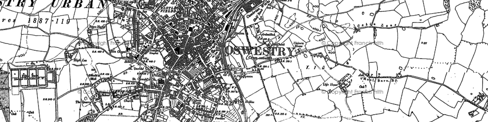 Old map of Oswestry in 1900