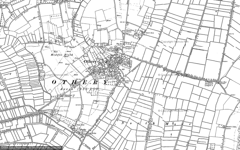 Old Map of Historic Map covering Langacre Rhyne in 1885