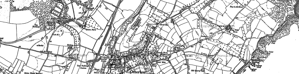 Old map of Otterton in 1888