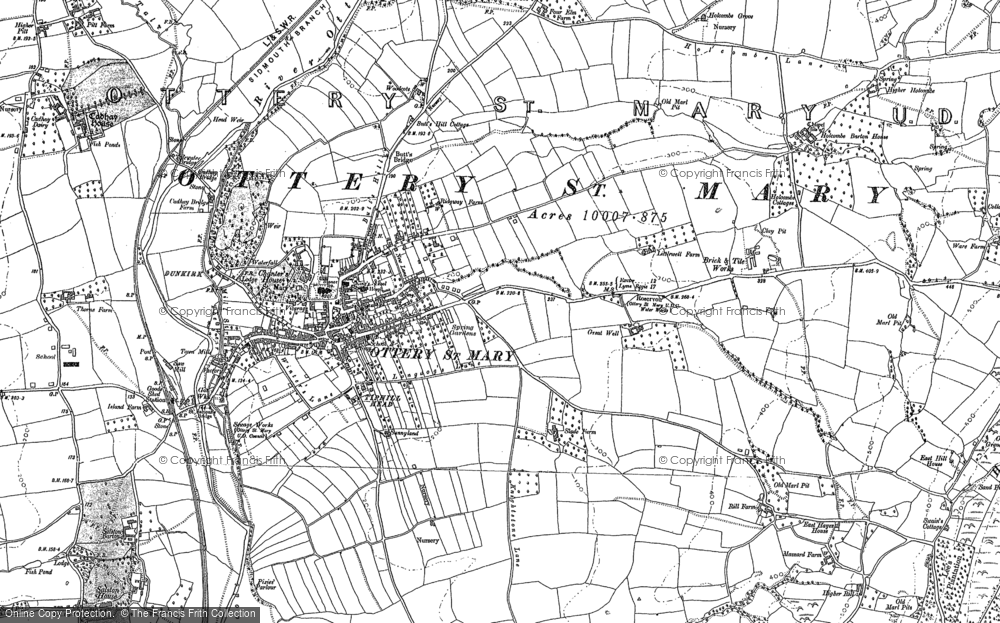 Old Map of Ottery St Mary, 1887 - 1888 in 1887