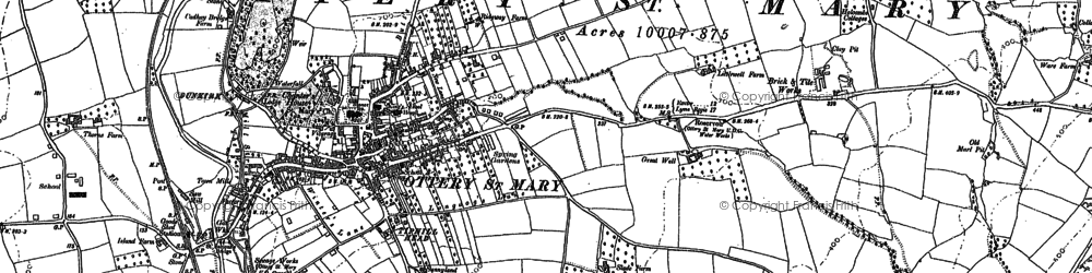 Old map of Ottery St Mary in 1887