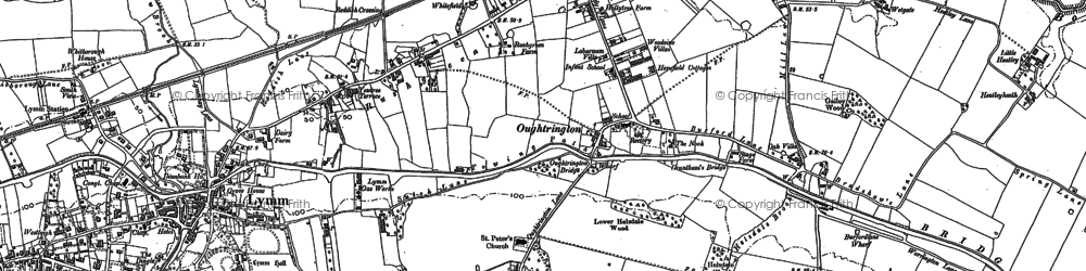 Old map of Oughtrington in 1908