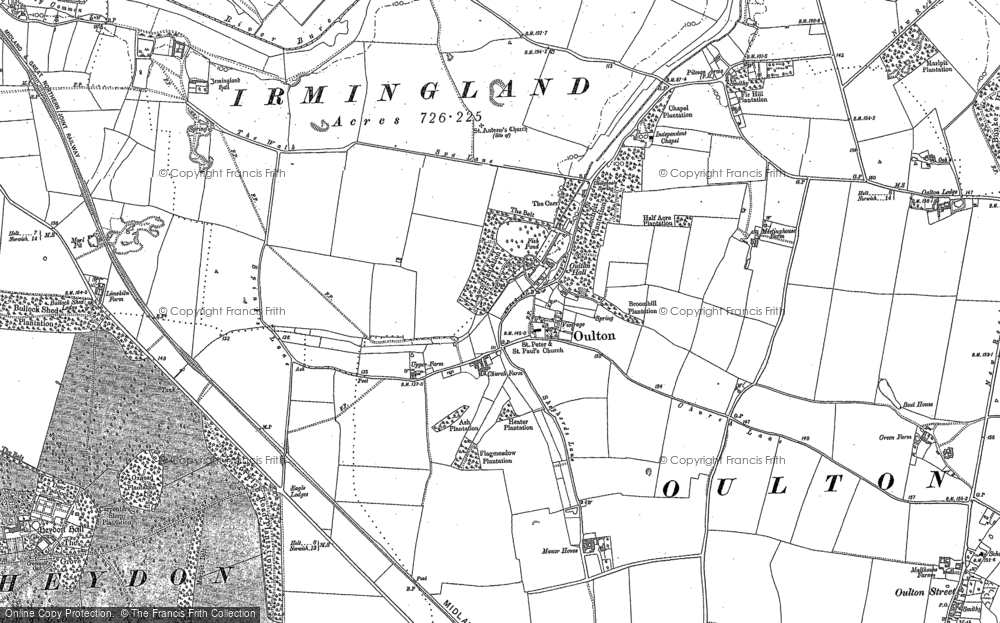 Old Map of Historic Map covering Leaselands, The in 1885