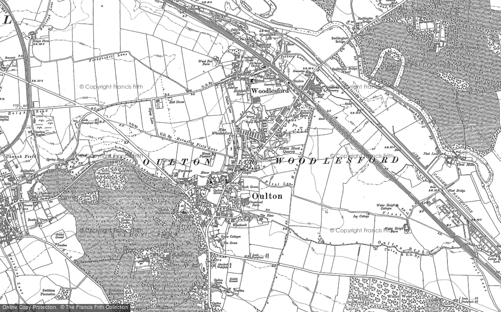 Old Map of Historic Map covering Aire & Calder Navigation in 1890