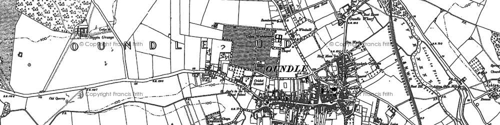 Old map of Oundle in 1885