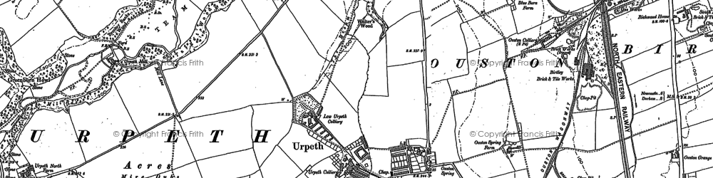 Old map of Ouston in 1895
