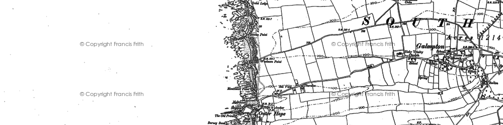 Old map of Thurlestone Rock in 1904