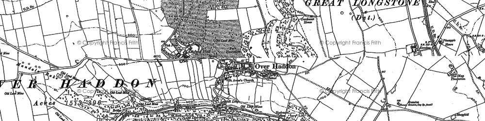 Old map of Over Haddon in 1878
