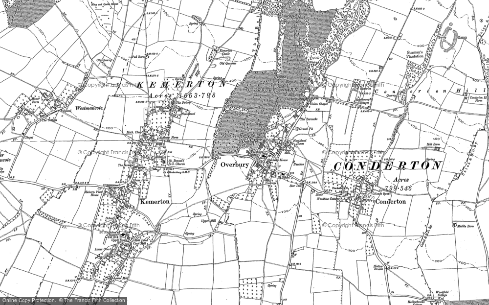 Old Map of Overbury, 1883 - 1900 in 1883