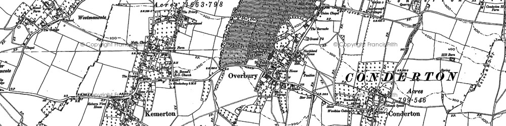Old map of Overbury in 1883