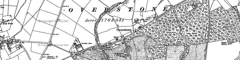 Old map of Overstone in 1884