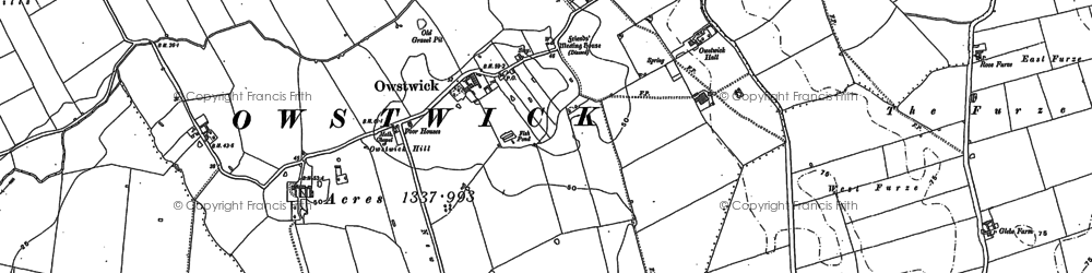 Old map of Willow Toft Fox Covert in 1908