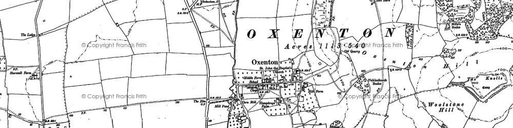Old map of Woolstone Hill in 1883