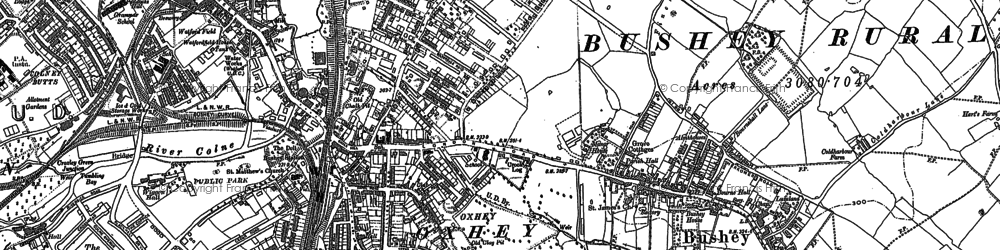 Old map of Oxhey in 1896