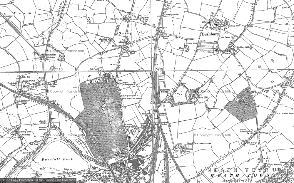 Old Map of Historic Map covering Autherley Junction in 1883
