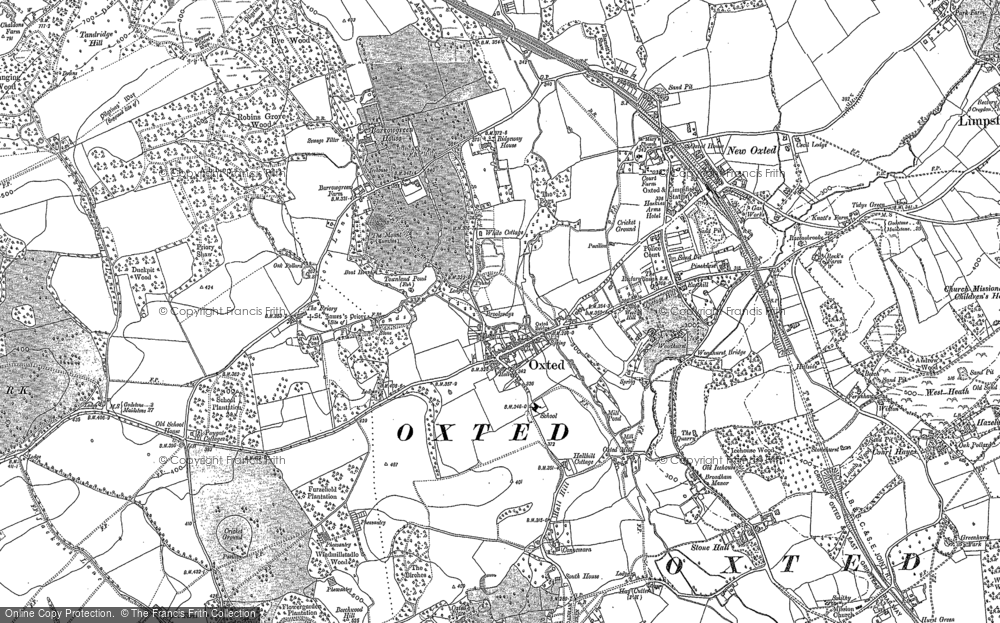 Old Map of Historic Map covering Hurst Green in 1895