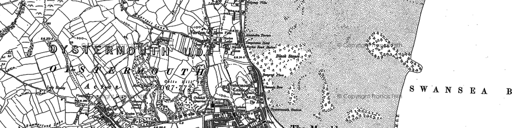 Old map of Oystermouth in 1896