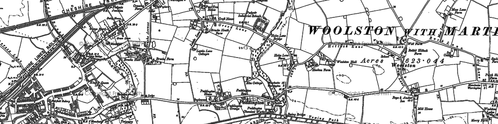 Old map of Bruche in 1894