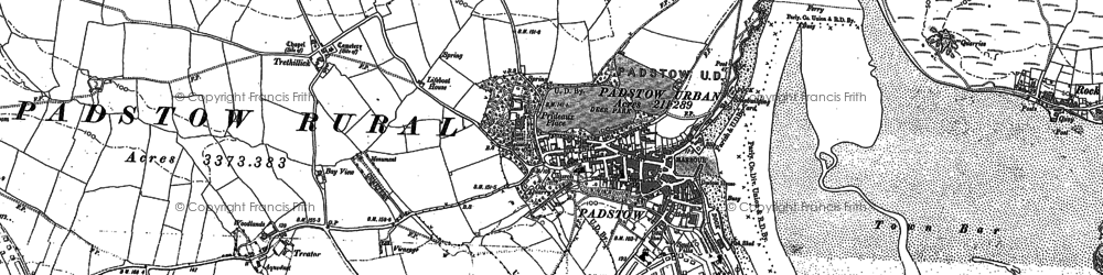 Old map of Padstow in 1880