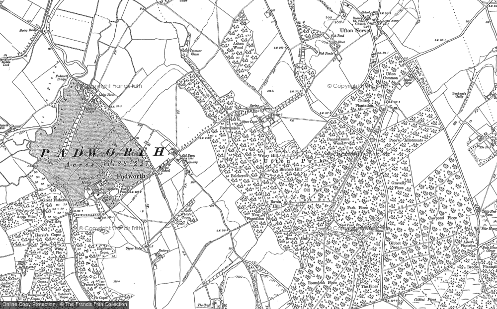 Old Map of Historic Map covering Aldermaston Wharf in 1898
