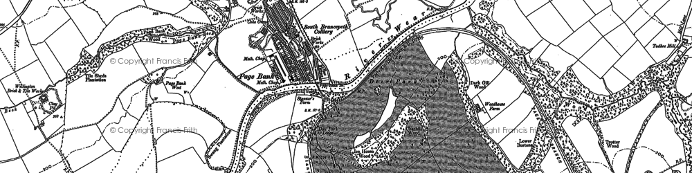 Old map of Whitworth Hall Country Park in 1896