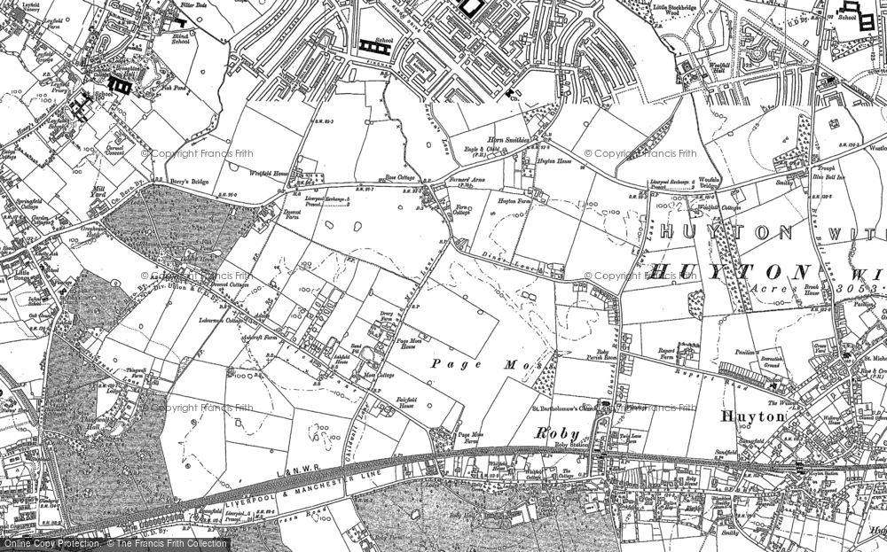 Old Map of Historic Map covering Woolfall Heath in 1891