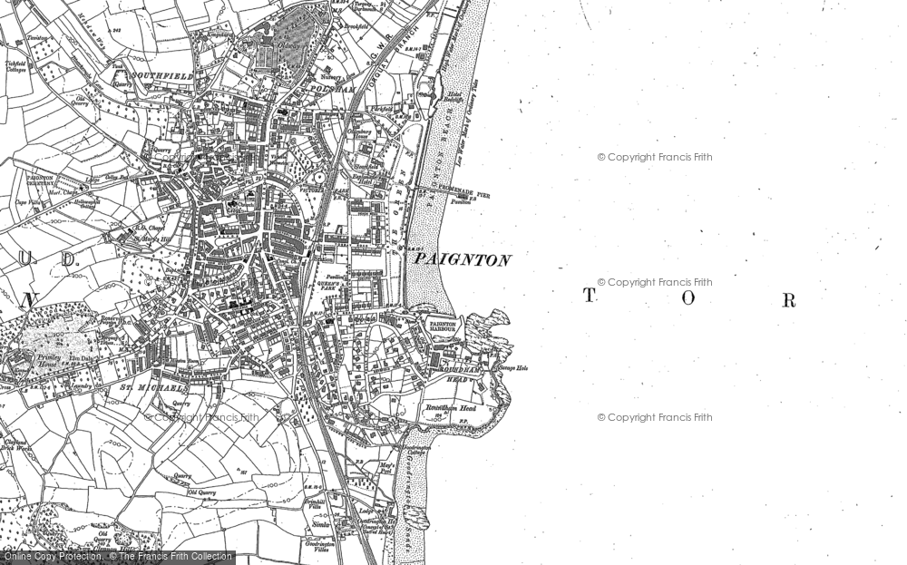 Old Map of Paignton, 1886 - 1933 in 1886
