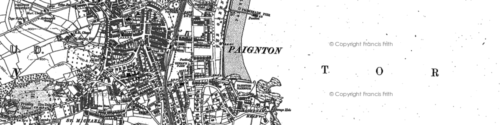 Old map of Paignton in 1886