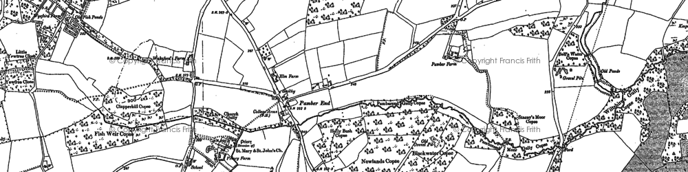Old map of Pamber End in 1894