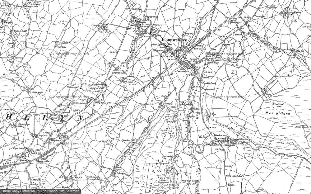 Old Map of Historic Map covering Afon Fechan in 1887