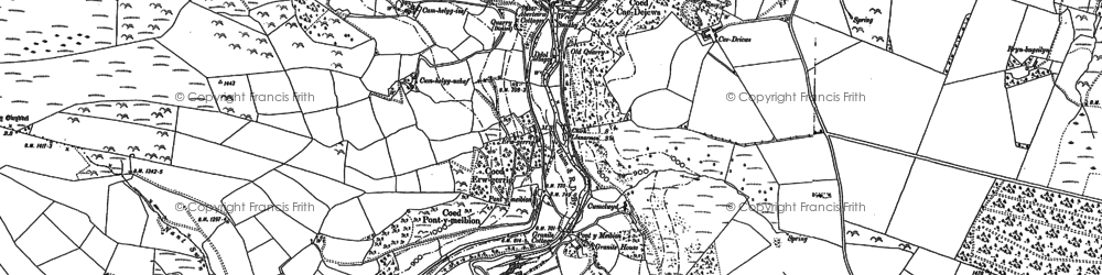 Old map of Aberwiel in 1909
