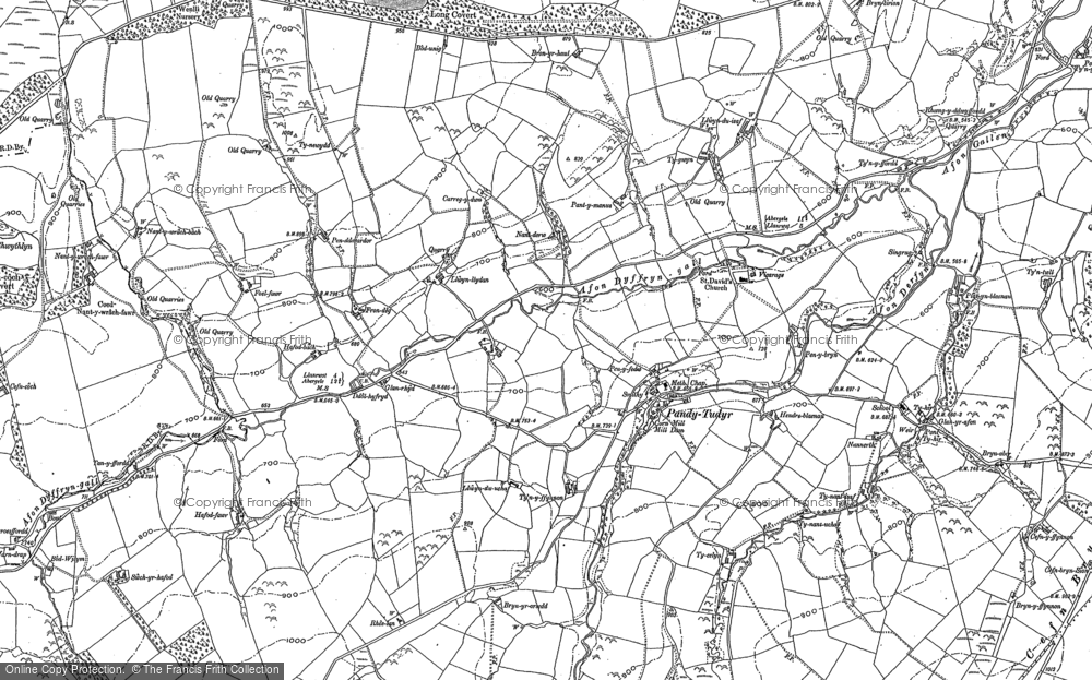 Old Map of Historic Map covering Afon Derfyn in 1899